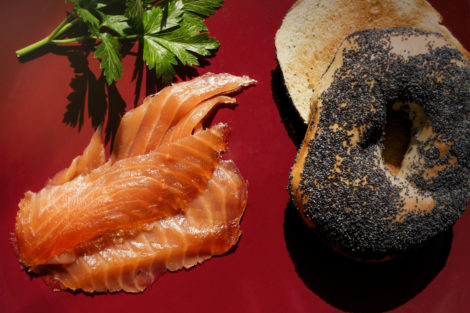 smoked salmon lox bagel